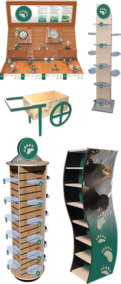 Point of Purchase Displays (POP Displays) & Store Fixtures made with wood, particle board and mdf components