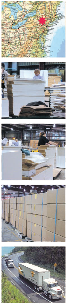 Wood packaging materials for particle board components, point of purchase displays, painted & cut to size panels